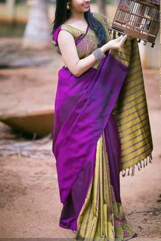 """Lovely Pink Colored Soft Silk Saree - CD180  30"""""""
