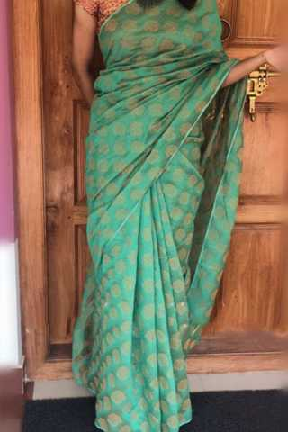 "Gorgeous Rama Colored Soft Silk Saree - CD182  30"""