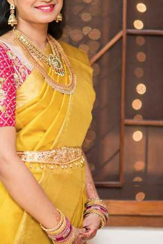 Glowing Yellow Colored Soft Silk Saree - CD186  30""