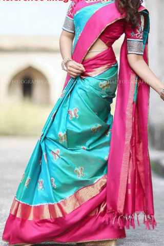Unique Pink Border Soft Silk Saree - CD188  30""