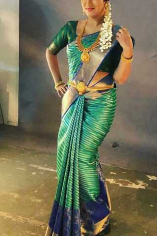 Traditional Green Colored Soft Silk Saree - CD195  30""