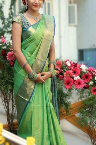 "Alluring Green Colored Soft Silk Saree - CD196  30"""