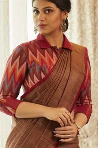 "Gorgeous Designer Blouse Soft Silk Fancy Partywear Functional Saree - CD210  30"""