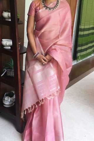 Pleasant Pink Colored Soft Silk Fancy Partywear Functional Saree - CD212  30""