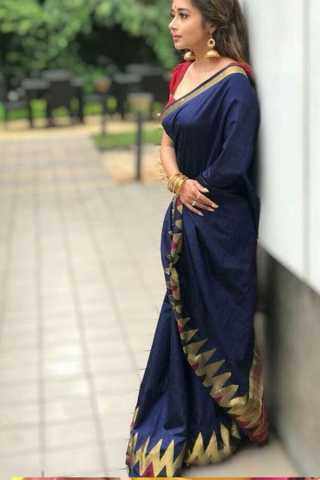 """Bautiful Navy Blue Colored Soft Silk Fancy Partywear Functional Saree - CD214  30"""""""