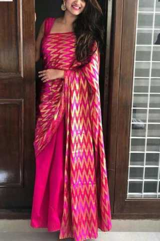 """Pink Colored Capricious Soft Silk Fancy Partywear Functional Saree - CD219  30"""""""