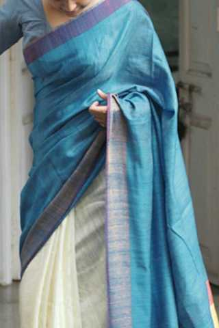 """Marvellous Blue-White Colored Soft Silk Fancy Partywear Functional Saree - CD222  30"""""""