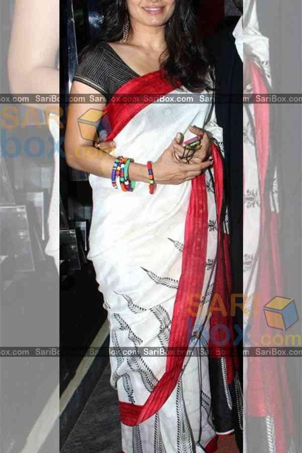 "White Colored Designer Soft Silk Partywear Saree - CD230  30"""