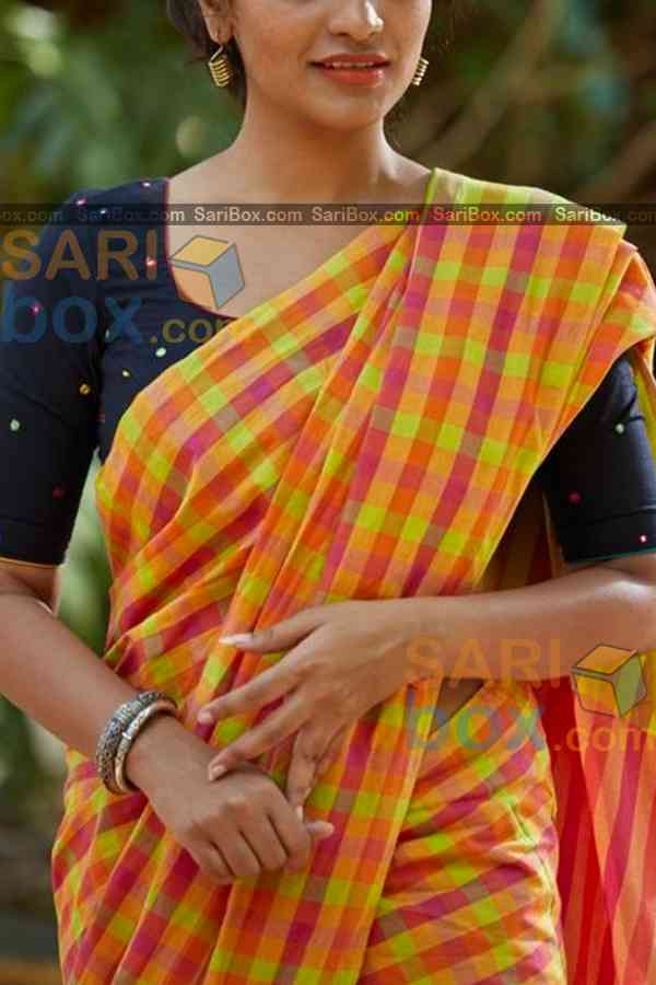 Multi Colored Checks Pattern Designer Soft Silk Partywear Saree - CD231  30""