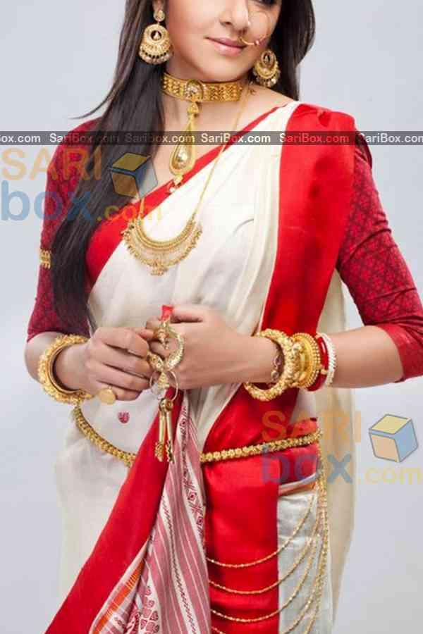 "Majesty White Colored Designer Festive Wear Soft Silk Partywear Saree - CD234  30"""