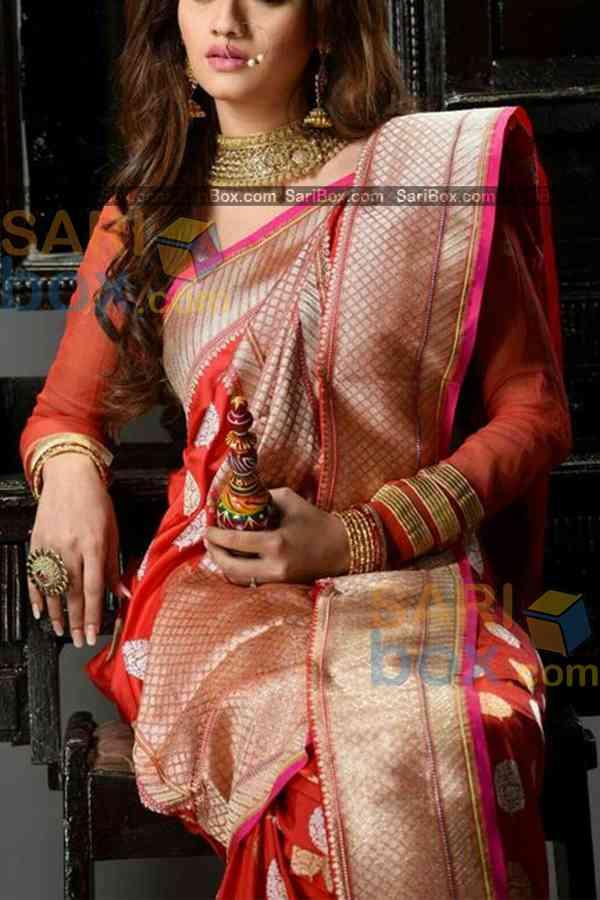 "Desiring Red Colored Broad Border Designer Soft Silk Partywear Saree - CD238  30"""