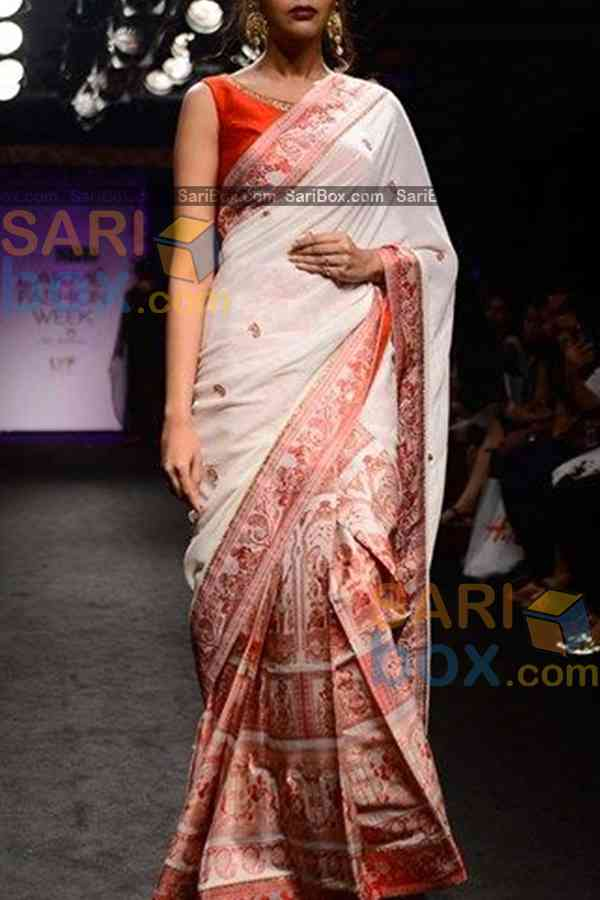 White Colored Blissful Designer Soft Silk Partywear Saree - CD240  30""