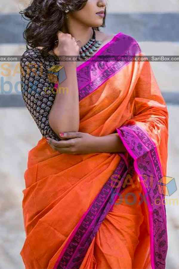 Sophisticated Orange Colored Designer Soft Silk Partywear Saree - CD244  30""