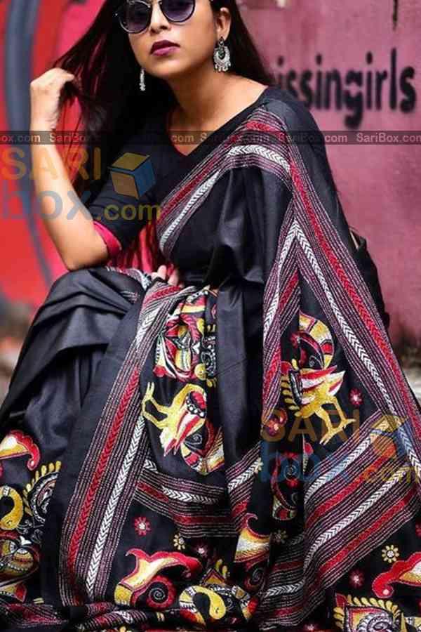 "Lovely Black Colored Designer Soft Silk Festivewear Saree - CD250  30"""