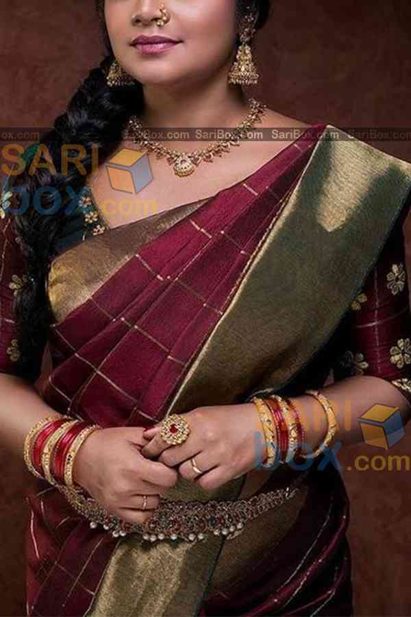 "Trendy Maroon Colored Designer Soft Silk Festivewear Saree - CD253  30"""