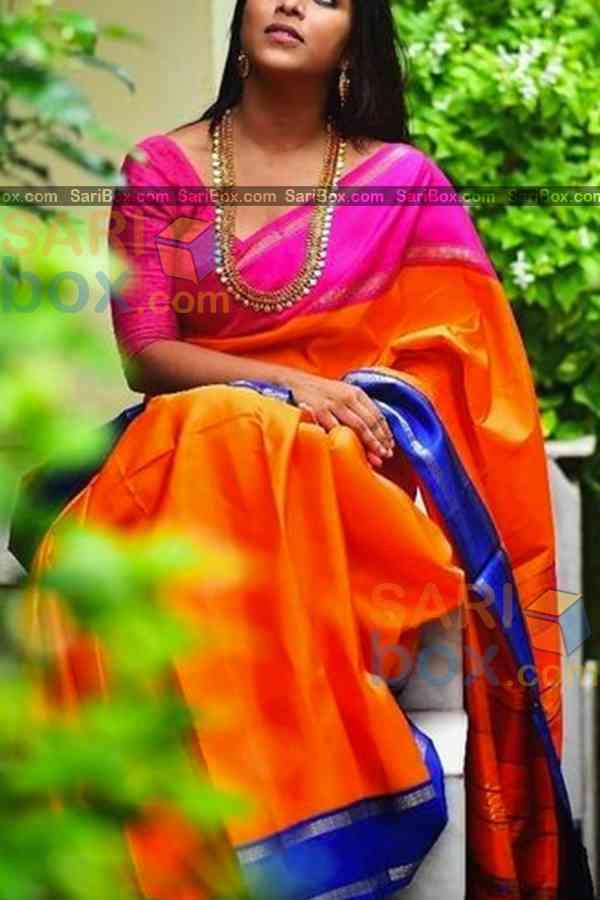 """Impressive Orange Colored Designer Soft Silk Festivewear Saree - CD254  30"""""""