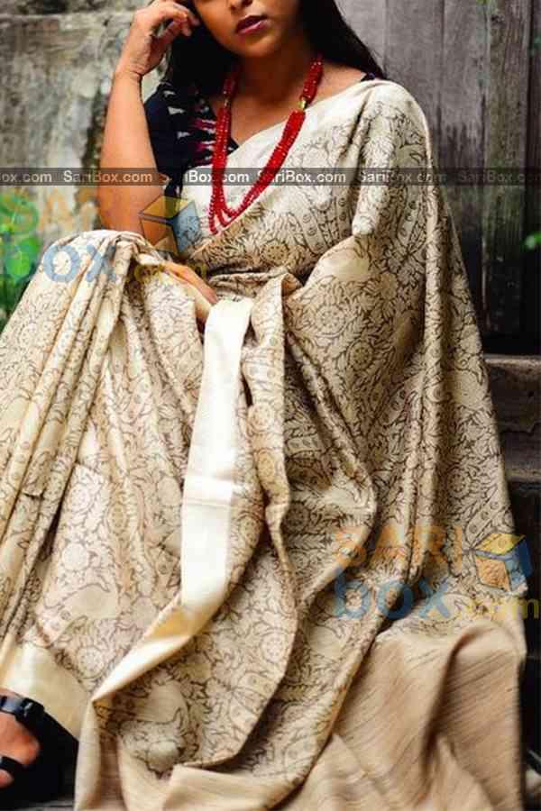 "Magical Off White Colored Designer Soft Silk Festivewear Saree - CD255  30"""