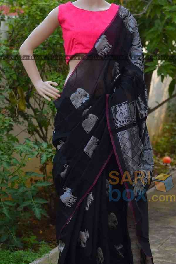 Alluring Black Colored  Soft Silk Festive Wear Saree - CD324  30""