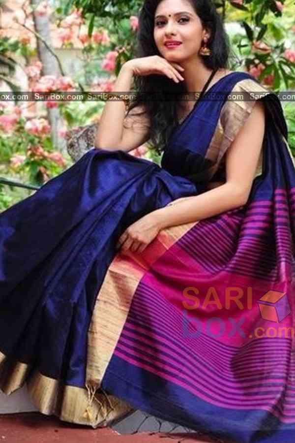 "Impressive Blue Colored  Soft Silk Festive Wear Saree - CD325  30"""