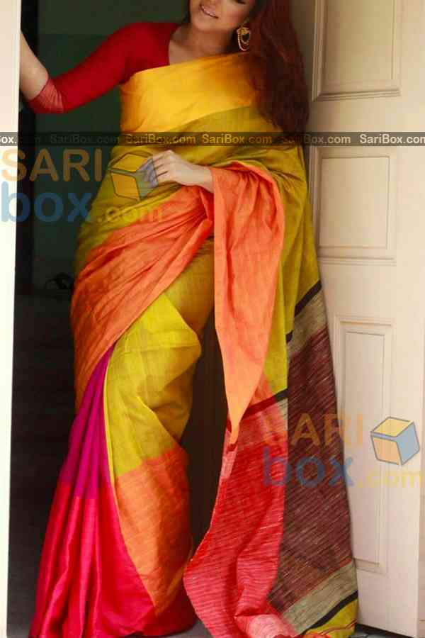 """Glowing Yellow - Pink Colored Karwa Chauth Special Soft Silk Festive Wear Saree - CD329  30"""""""