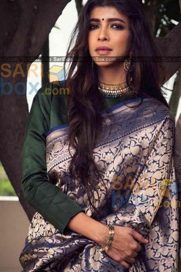 "Starring Blue Border Karwa Chauth Special Soft Silk Festive Wear Saree - CD330  30"""