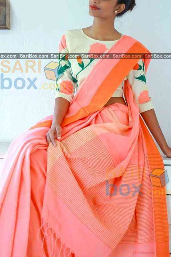 "Majestic Peach Colored Karwa Chauth Special Soft Silk Festive Wear Saree - CD332  30"""