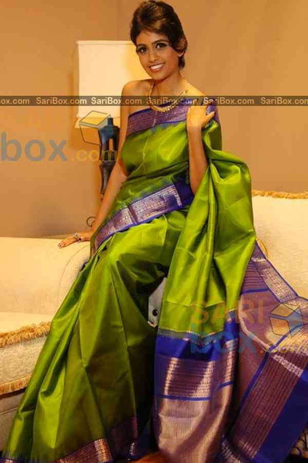 Dazzling Green Colored Karwa Chauth Special Soft Silk Festive Wear Saree - CD338  30""