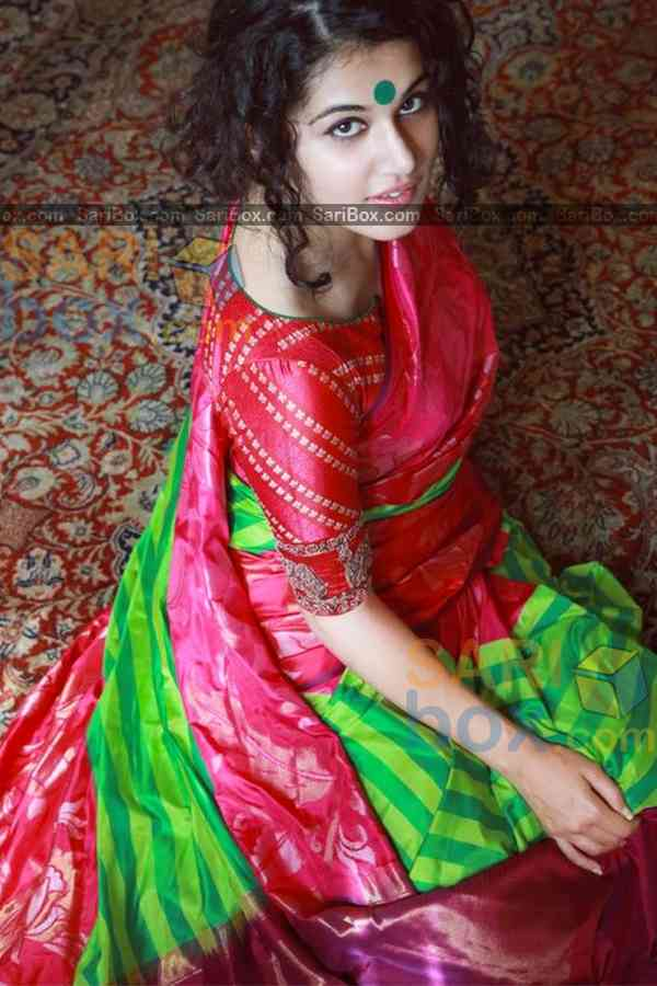 Innovative Green-Red Colored Karwa Chauth Special Soft Silk Festive Wear Saree - CD339  30""