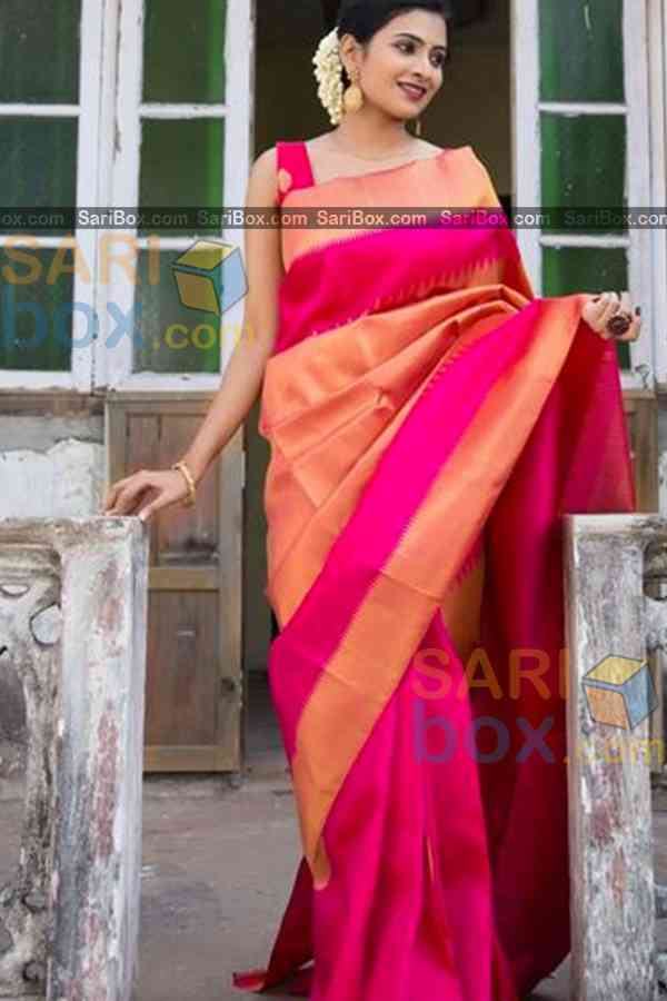"""Sophisticated Pink Colored Karwa Chauth Special Soft Silk Festive Wear Saree - CD342  30"""""""