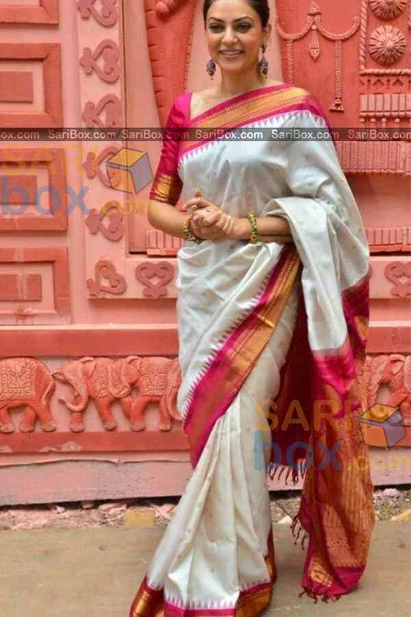 """Marvellous White Colored Karwa Chauth Special Soft Silk Festive Wear Saree - CD343  30"""""""
