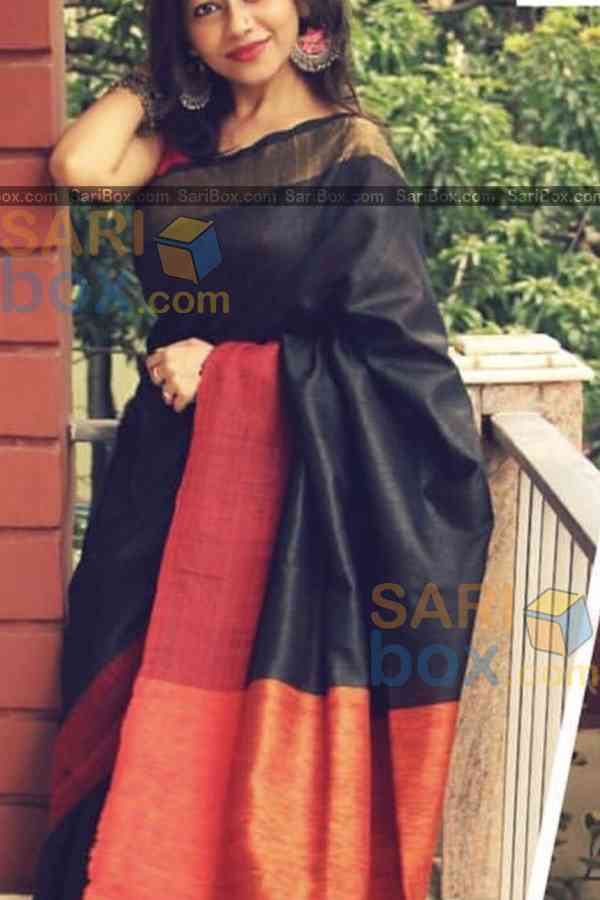 Blooming Black Colored Karwa Chauth Special Soft Silk Festive Wear Saree - CD347  30""