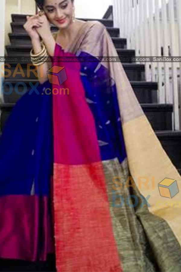 Imposing Blue Colored Karwa Chauth Special Soft Silk Festive Wear Saree - CD349  30""