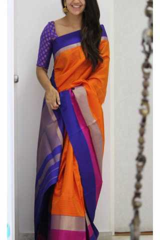 Enriching Orange Color Soft Silk Designer Sarees - SB1198  30""