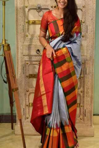 Stimulating Grey Color Soft Silk Designer Sarees - SB1292  30""