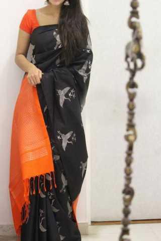 "Sizzling Black Color Soft Silk Designer Sarees - SB1298  30"""