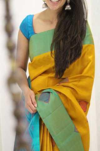 "Modish Yellow Color Soft Silk Designer Sarees - SB1303  30"""