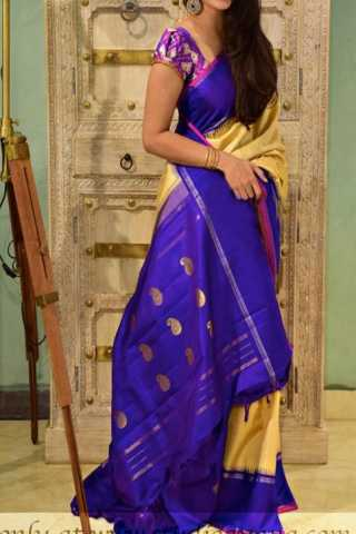 Ethnic Yellow N Violet Color Soft Silk Designer Sarees - SB1306  30""