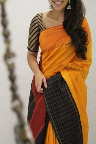 Ethnic Yellow N Black Color Soft Silk Designer Sarees - SB1309  30""