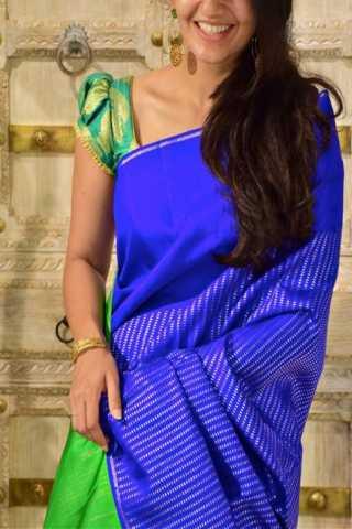 "Modish Blue Color Soft Silk Designer Sarees - SB1315  30"""