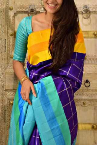 Royal Multi Color Soft Silk Designer Sarees - SB1327  30""