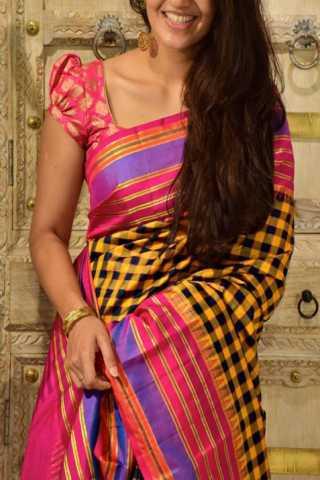 "Classic Yellow n Pink Color Soft Silk Designer Sarees - SB1330  30"""