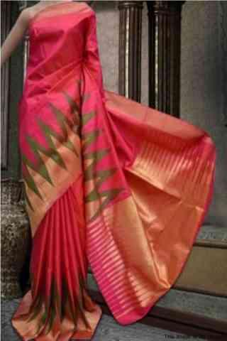 "Awesome Pink Color Soft Silk Designer Wear Saree - SB576  30"""