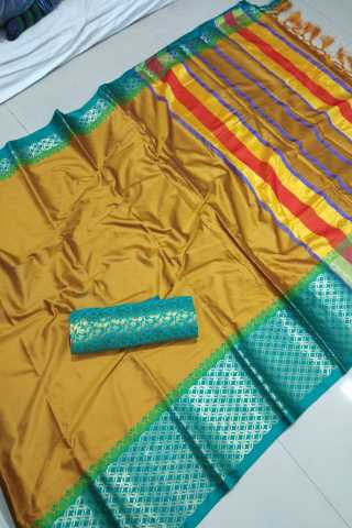 Innovative Yellow Color Cotton Fabric Saree - CTYellowGreen