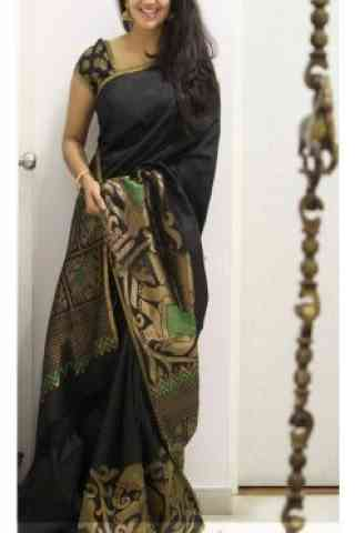 Fabulous Black Color Soft Silk Saree - SB 1110  30""