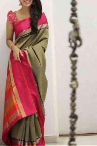 "Sizzling Multi Color Soft Silk Saree - SB1109  30"""