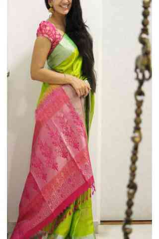 "Desirable Green n Pink  Color Soft Silk Saree - SB1116  30"""