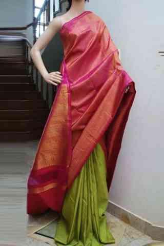 "classic Pink n Green Color Soft Silk Designer Sarees - SB706  30"""