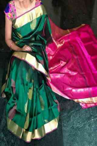 "Modish Green Color Soft Silk Designer Sarees - SB715  30"""