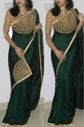 Modern green Paper Silk Fabric Hand work Designer Saree   30""