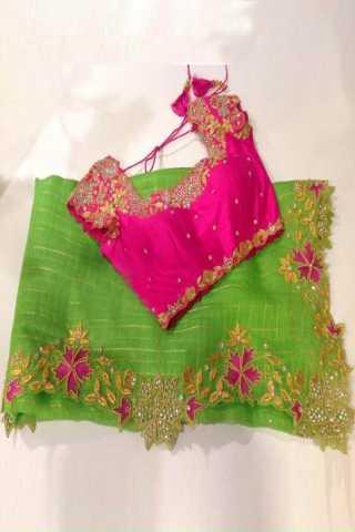 Designer Green Color Naznin Fabric Diamond Embroidered Saree